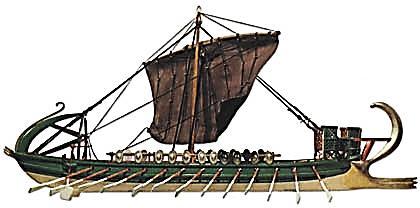 """אנייה חשמונאית ע""""פ רישום מקבר יאסון בי-ם, שחזור המוזיאון הימי הלאומי חיפה"""