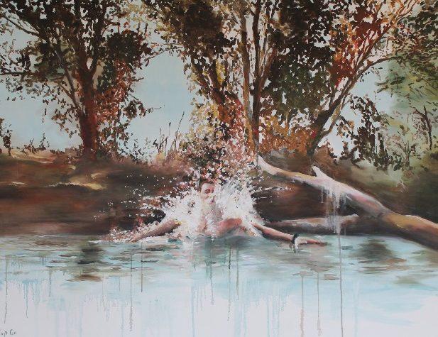 ציור של מיכל דניאל מתוך התערוכה אויר לנשימה